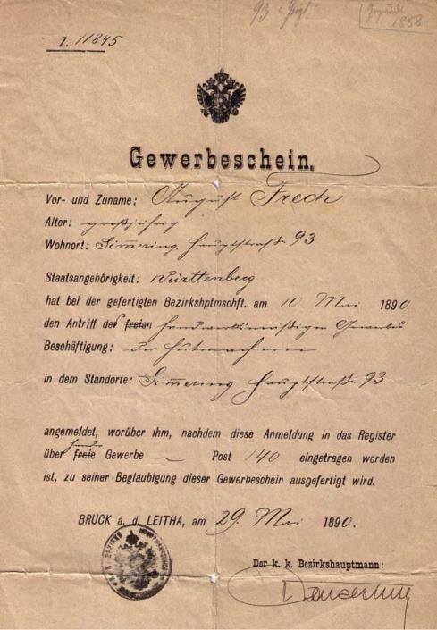 Hutmacher Gewerbeschein 1890