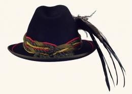 Trachtenhut Damen schwarz mit Feder 102-017-156-24