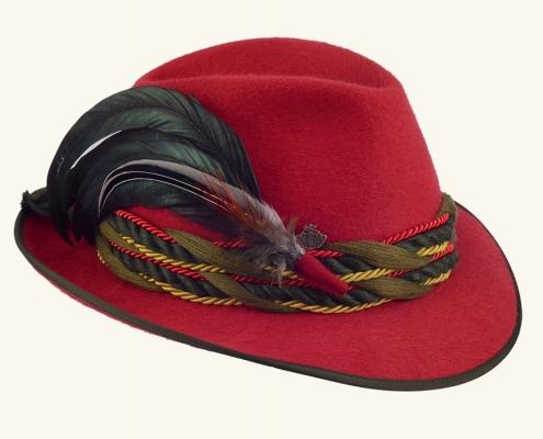 Trachtenhut Damen rot mit Feder