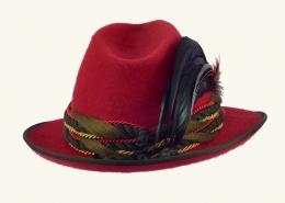 Trachtenhut Damen rot - mit Feder